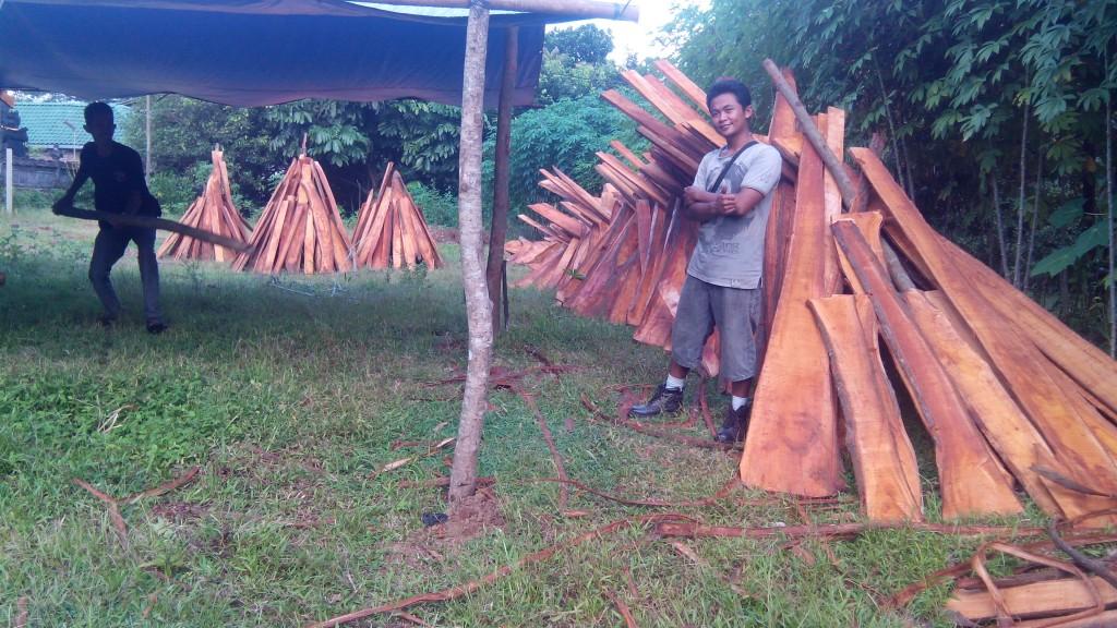 papan kayu sebagai bahan dinding dan lantai rumah kayu