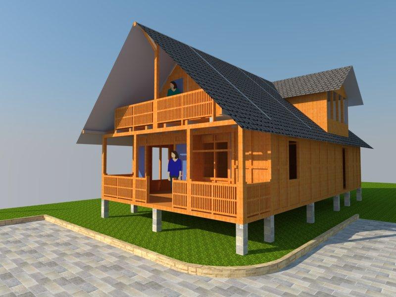 desain rumah kayu 3 dimensi