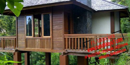jual villa rumah kayu murah