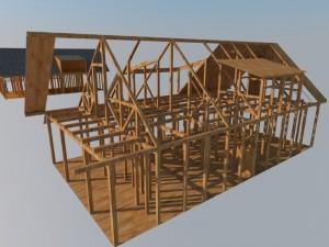desain rangka rumah kayu tingkat