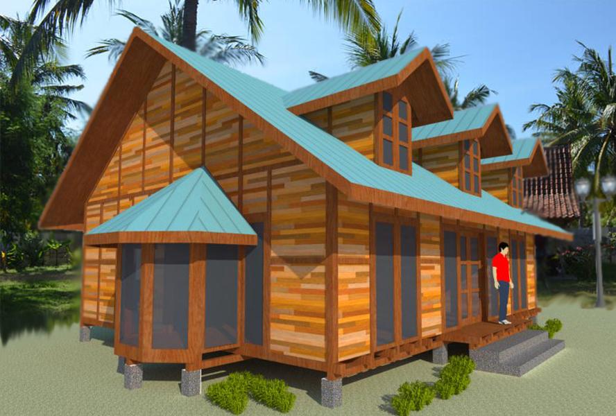 disain gambar rumah kayu mewah