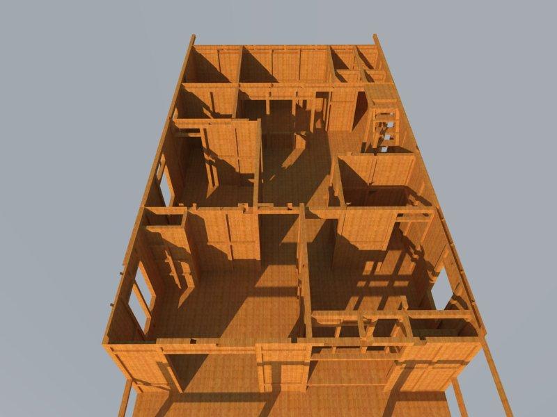 design rumah kayu 3 dimensi