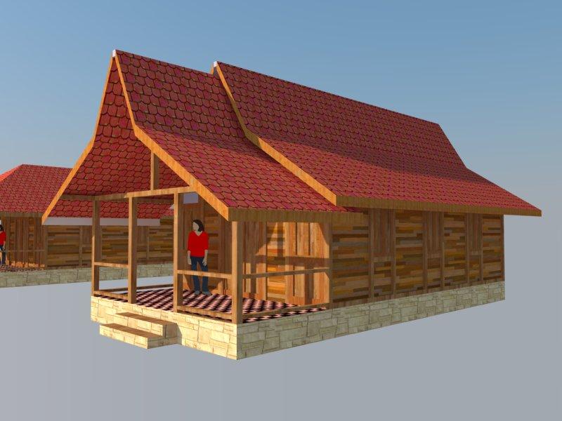Disain rumah kayu limasan
